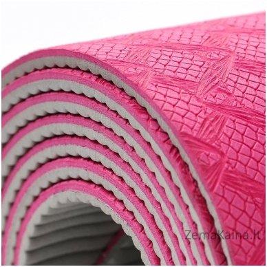 Aerobikos kilimėlis Meteor TPE Yoga rožinis/pilkas 7
