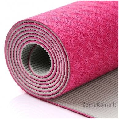 Aerobikos kilimėlis Meteor TPE Yoga rožinis/pilkas 8