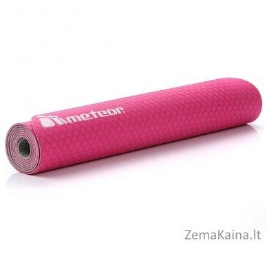 Aerobikos kilimėlis Meteor TPE Yoga rožinis/pilkas 4