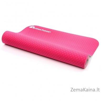 Aerobikos kilimėlis Meteor TPE Yoga rožinis/pilkas 2