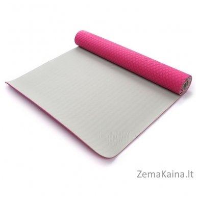 Aerobikos kilimėlis Meteor TPE Yoga rožinis/pilkas