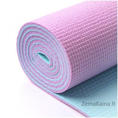 Aerobikos kilimėlis Meteor PVC Yoga rožinis/mėtinis 2