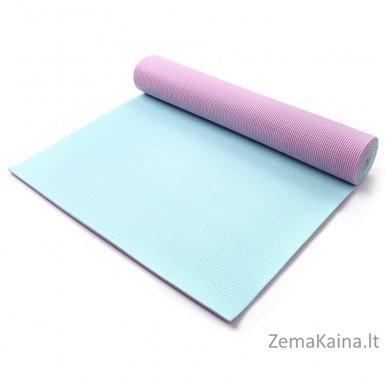 Aerobikos kilimėlis Meteor PVC Yoga rožinis/mėtinis