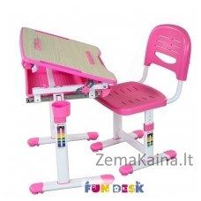 Augantis vaikiškas stalas transformeris ir kėdė FunDesk Bambino Pink