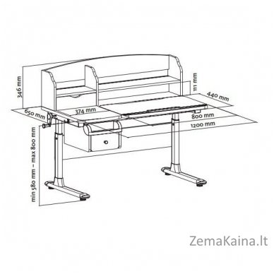 Augantis vaikiškas stalas FunDesk Sognare Grey 6