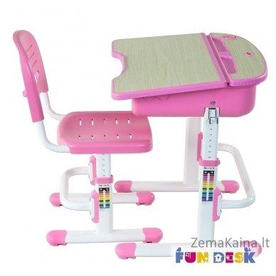 Augantis vaikiškas stalas ir kėdė FunDesk Capri Pink 8