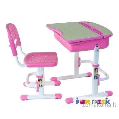 Augantis vaikiškas stalas ir kėdė FunDesk Capri Pink 3