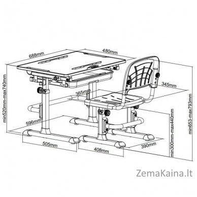Augantis vaikiškas stalas ir kėdė FunDesk CUBBY KARO WG 8