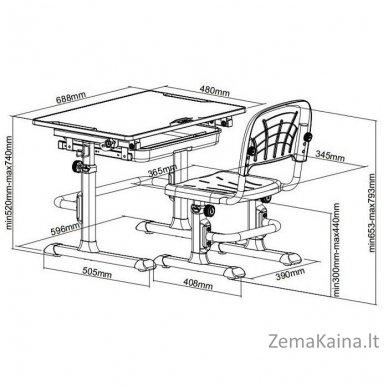 Augantis vaikiškas stalas ir kėdė FunDesk CUBBY LUPIN VB 9