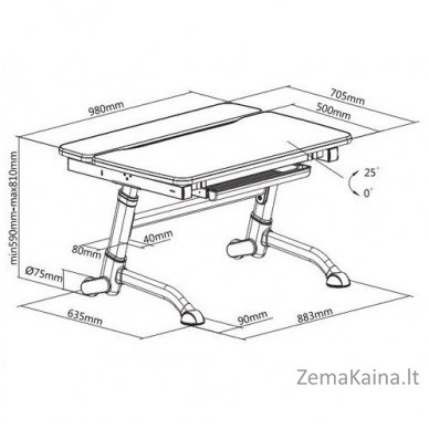 Augantis vaikiškas stalas transformeris FunDesk Volare Blue 8