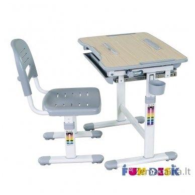 Augantis vaikiškas stalas transformeris ir kėdė FunDesk Bambino Grey 3