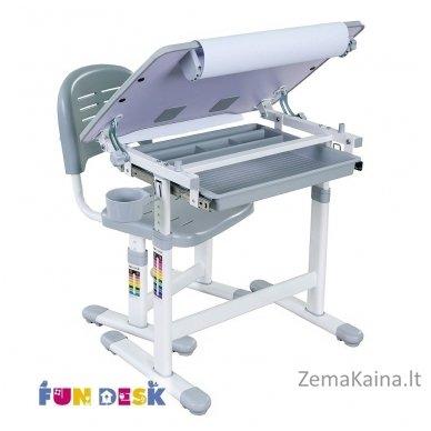 Augantis vaikiškas stalas transformeris ir kėdė FunDesk Bambino Grey 2