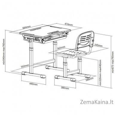 Augantis vaikiškas stalas transformeris ir kėdė FunDesk Bambino Grey 7