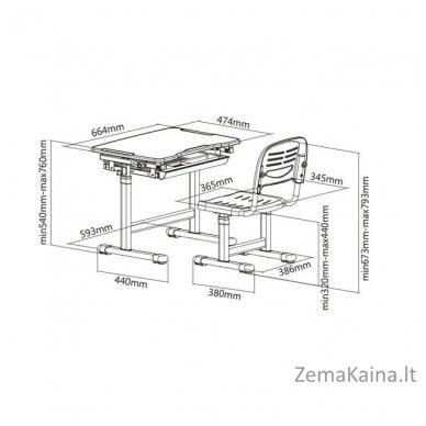 Augantis vaikiškas stalas transformeris ir kėdė FunDesk Piccolino Grey 8