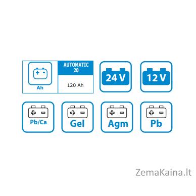 AUTOMATINIS INVERTERINIS - IMPULSINIS AKUMULIATORIŲ KROVIKLIS AWELCO AUTOMATIC 20 (GEL-AGM) 4