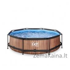 Baseinas EXIT Wood 300x76 cm, 4383 L - su filtru