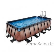 Baseinas EXIT Wood 400x200 cm, 7020 L - su kopėtėlėmis ir filtru