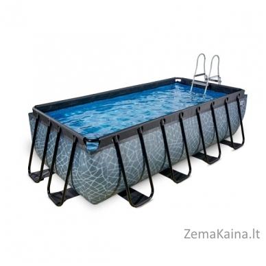 Baseinas EXIT Stone 400x200 cm, 7020 L - su kopėtėlėmis ir filtru