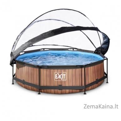 Baseinas EXIT Wood 300x76 cm, 4383 L - su stogeliu ir filtru 2