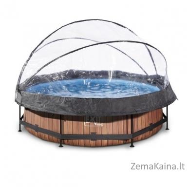 Baseinas EXIT Wood 300x76 cm, 4383 L - su stogeliu ir filtru