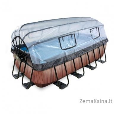Baseinas EXIT Wood 400x200 cm, 7020 L - su stogeliu, kopėtėlėmis ir filtru