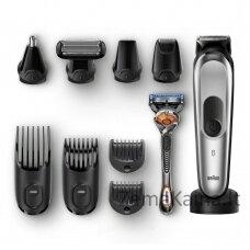 """Braun Multigroomer MGK7920 + Organizer gift set barzdos kirpimo mašinėlė """"Wet & Dry"""" Juoda, Sidabras"""