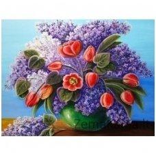 Deimantinė mozaika paveikslas - Lilac Bouquet AZ-1314