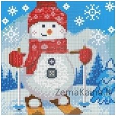 Deimantinė mozaika paveikslas - Snowman on the Sledge AZ-1270
