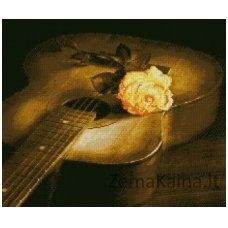 Deimantinė mozaika paveikslas Guitar and Rose AZ-1051