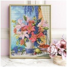 Deimantinė mozaika paveikslas - Lilac Bouquet AZ-1648
