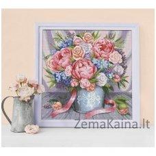 Deimantinė mozaika paveikslas - Pink Flowers AZ-1655