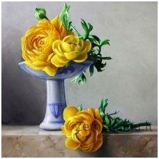Deimantinė mozaika paveikslas - yellow Peonies AZ-1194
