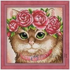 Deimantines mozaikos rinkinys - CAT IN A FLOWER CROWN AZ-1659