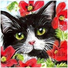 Deimantines mozaikos rinkinys - Cat in Flowers WD292