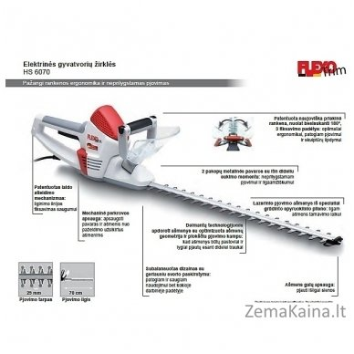Elektrinės gyvatvorių žirklės Flexo Trim HS 6070 Pro 2