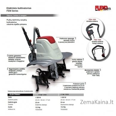 Elektrinis kultivatorius 1,2 kW Flexo Trim FEM 1200 5