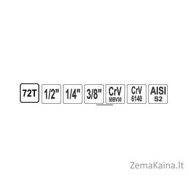 """GALVUČIŲ IR RAKTŲ RINKINYS 216 VNT. 1/4"""" + 3/8"""" + 1/2"""" (KR121216A) 5"""