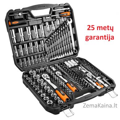 """Galvučių, raktų ir antgalių komplektas NEO 219 dalių, 1/2"""", 3/8"""", 1/4"""""""