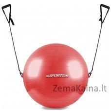 Gimnastikos kamuolys su rankenomis 75 cm raudonas