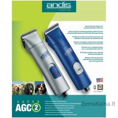 Gyvūnų plaukų kirpimo mašinėlė Andis AGC2 Super 2-Speed Blue 23920 3