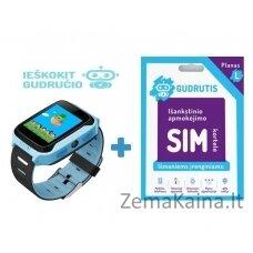 Išmanusis GPS laikrodis vaikams Gudrutis P12 (Mėlyna) + Ieškokit Gudručio SIM kortelė – 1 metai