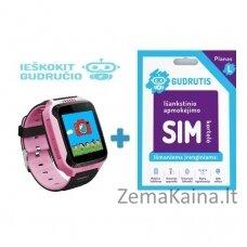 Išmanusis GPS laikrodis vaikams Gudrutis P12 (rožinė) + Ieškokit Gudručio SIM kortelė – 1 metai