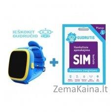 Išmanusis GPS laikrodis vaikams Gudrutis R10 (Mėlyna) + Ieškokit Gudručio SIM kortelė – 1 metai