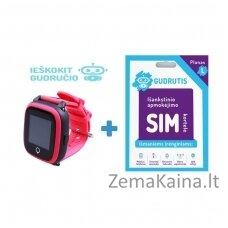 Išmanusis GPS laikrodis vaikams Gudrutis R10 (Rožinė) + Ieškokit Gudručio SIM kortelė – 1 metai