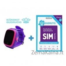 Išmanusis GPS laikrodis vaikams Gudrutis R10 (Violetinė) + Ieškokit Gudručio SIM kortelė – 1 metai
