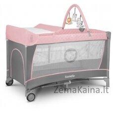 Kelioninė lovytė - maniežas  Lionelo Flower 2in1 Flamingo
