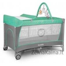Kelioninė lovytė - maniežas  Lionelo Flower 2in1 Turquoise