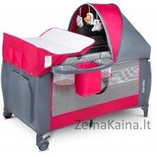 Kelioninė lovytė - maniežas  Lionelo Sven Plus Pink Rose