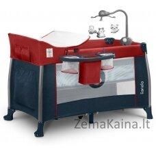 Kelioninė lovytė - maniežas  Lionelo Thomi 2in1  Burgundy Red/Blue