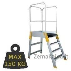 Kopėčios aliuminės, su darbine aikštele: 56x77cm FORTE